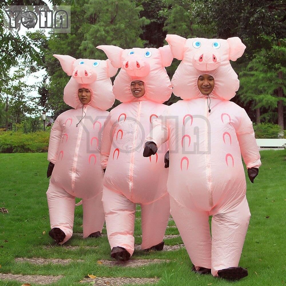 Inflatable Pig Costume Adult Fancy Dress Cosplay Halloween Costume TREX Costume
