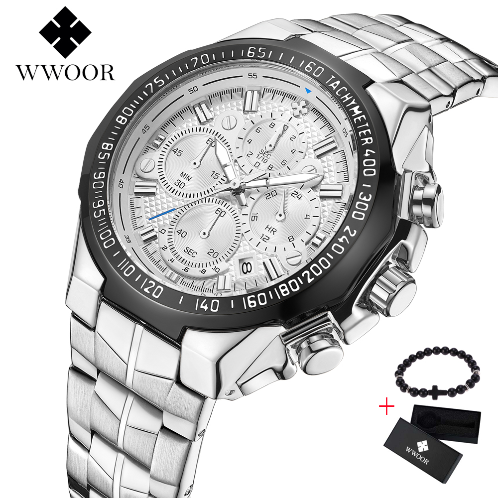 WWOOR 2019 New Men Watch Business Steel Quartz Top Brand Luxury Casual Chronograph Sports Male Wristwatch Relogio Masculino boxWWOOR 2019 New Men Watch Business Steel Quartz Top Brand Luxury Casual Chronograph Sports Male Wristwatch Relogio Masculino box