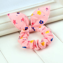 new 2017 original head flower hair accessories headdress Korea trinkets rabbit ears Fabric Dot rubber band hair rope ring gift(China)