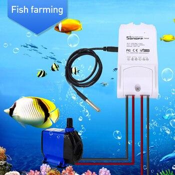 سونوف TH10 TH16 واي فاي التبديل DS18B20 مقاوم للماء استشعار درجة الحرارة واي فاي التحكم عن بعد للمنزل الذكي أتمتة وحدة 10A 16A