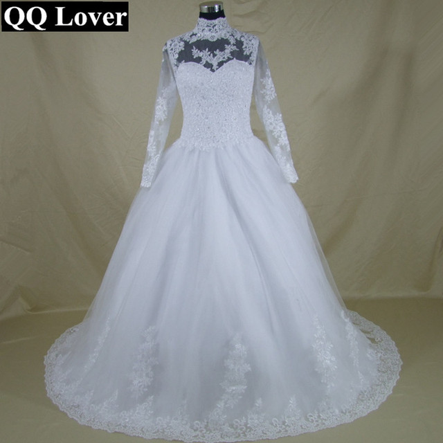 QQ Lover 2017 High Neck Long Sleeve Lace Up Back Wedding Dress Lace Ball  Gown Wedding
