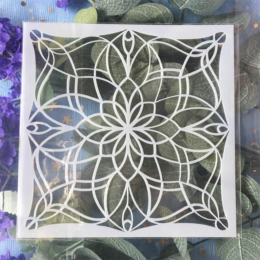 New 13cm Geometry Flower DIY Craft Layering Stencils Wall Painting Scrapbooking Stamping Embossing Album Card Template