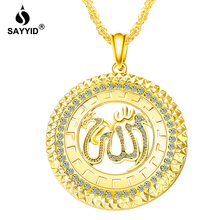 SAYYID Brand Necklace Arabic Muslim Islam Allah Pendant Necklace for Men and Women Inlaid Rhinestone Round Necklace N1927A trendy rhinestone inlaid letter round pendant necklace for lovers