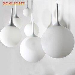 Nordic wiszące lampy nowoczesne loft kolor biały mleczny szkło wiszące lampa w kształcie kuli LED E27 z 6 rozmiar do salonu restauracja lobby biuro