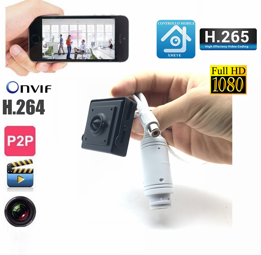 2.0 Megapixel Sony IMX323 Mobile Phone Remote View Mini Micro 1080P HD Onvif P2P IP Network Atm Camera With POE And Audio Input image