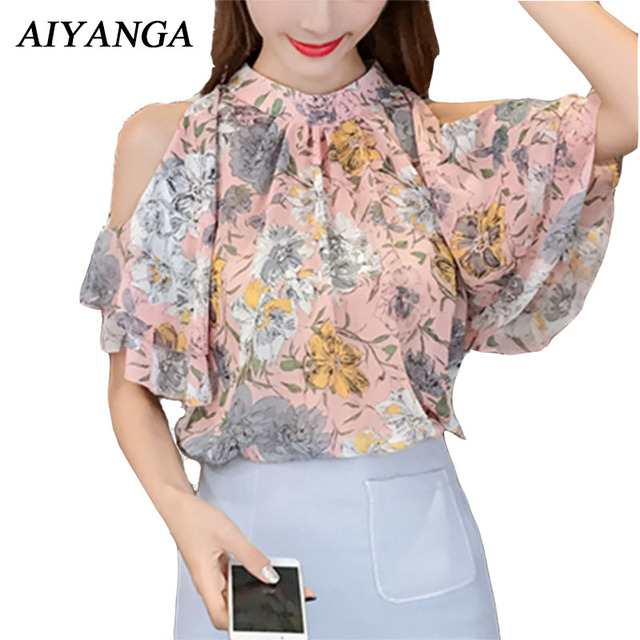 ae91ee2d031fe 2018 New Print Chiffon Blouses Women Summer Sexy Off Shoulder Tops Slim  Fashion Casual Ladies Shirts For Woman Pink Yellow
