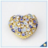 Toptan Kalaylı Kalp Şekilli Mücevher Kutusu Gümüş Kristal Çiçek Çiçek Tasarım ile Hediye Kutusu Saklama Kutusu