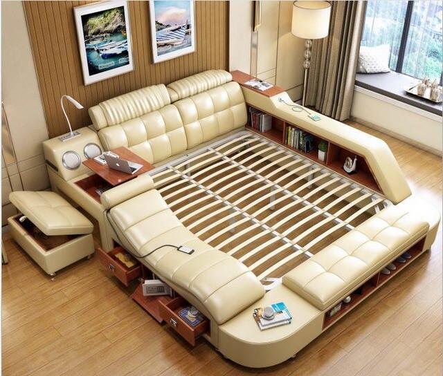אמיתי אמיתי עור מיטת מסגרת עיסוי רך מיטות שינה ריהוט עם בטוח שולחן שולחן רמקול LED אור ספר הדום קבינט
