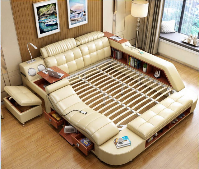 Real Genuine leather bed frame massage Soft Beds Bedroom Furniture with safe desk table speaker LED light book cabinet ottoman
