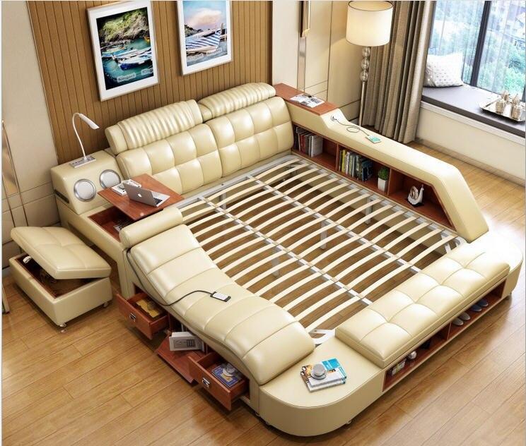 Véritable cadre de lit en cuir véritable massage lits doux meubles de chambre avec table de bureau sûre haut-parleur lumière LED armoire de livre pouf