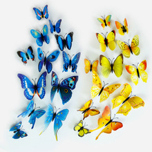 Modern 3D Colorful PVC Butterfly Wall Stickers Home Decor Art Wall Decals Luminous Party Wedding Decor Living Room Wall Sticker high quality 3d colorful butterfly shape removeable wall stickers