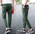 Mens joggers 2017 nuevos hombres flacos pantalones verde militar hip hop pantalones basculador pantalones harén hombres pantalones cargo camo militar justin bieber