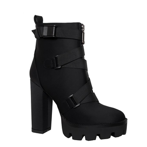 Image 4 - Perixir High Heel 4 CM Platform Height Ankle Women Sexy Boots Pointed Toe 15 CM Chunky  Heels Shoe Boot Ladies Shoes Big Size 43