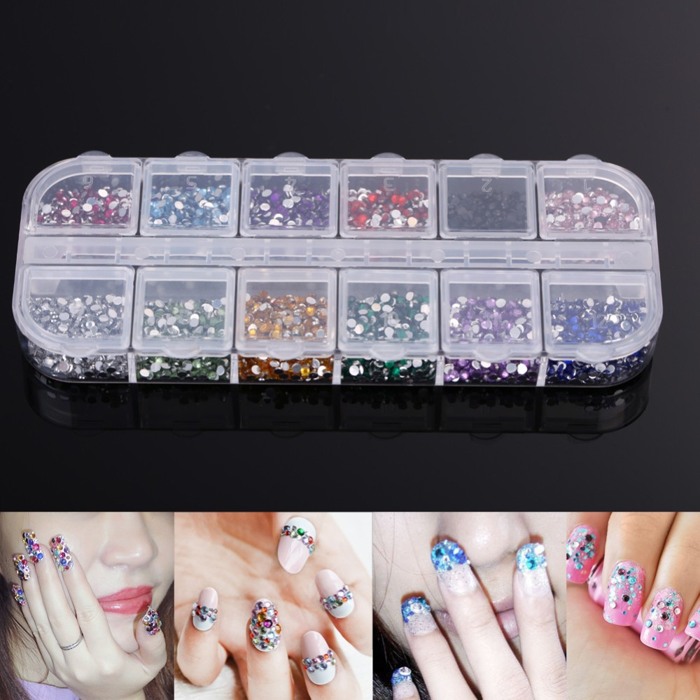 Nail Art Rhinestones,12colors one set Flatback Glitter Acrylic Strass UV Gel Nail Stones,DIY 3d Nail Decor Accessories Tools 2000 pcs 12 colors nail shining rhinestones glitter acrylic nail art decoration 2mm for uv gel iphone and laptop diy nail tools