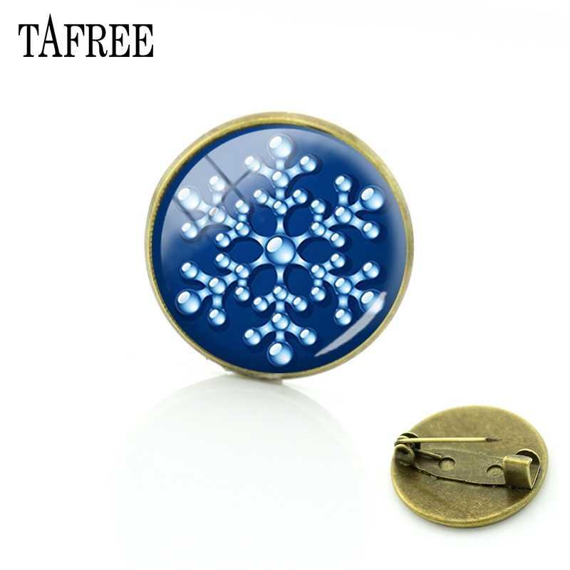 TAFREE noël flocon de neige broches rouge fond broches bonne année Bronze plaqué Badge verre cabochon gemme bijoux B071