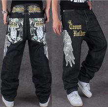 2017 Мужчин Хип-Хоп Танец Жан Брюки Мужские Негабаритных Штаны Pantalon Homme Внезапная Уличная Негабаритных Джинсы