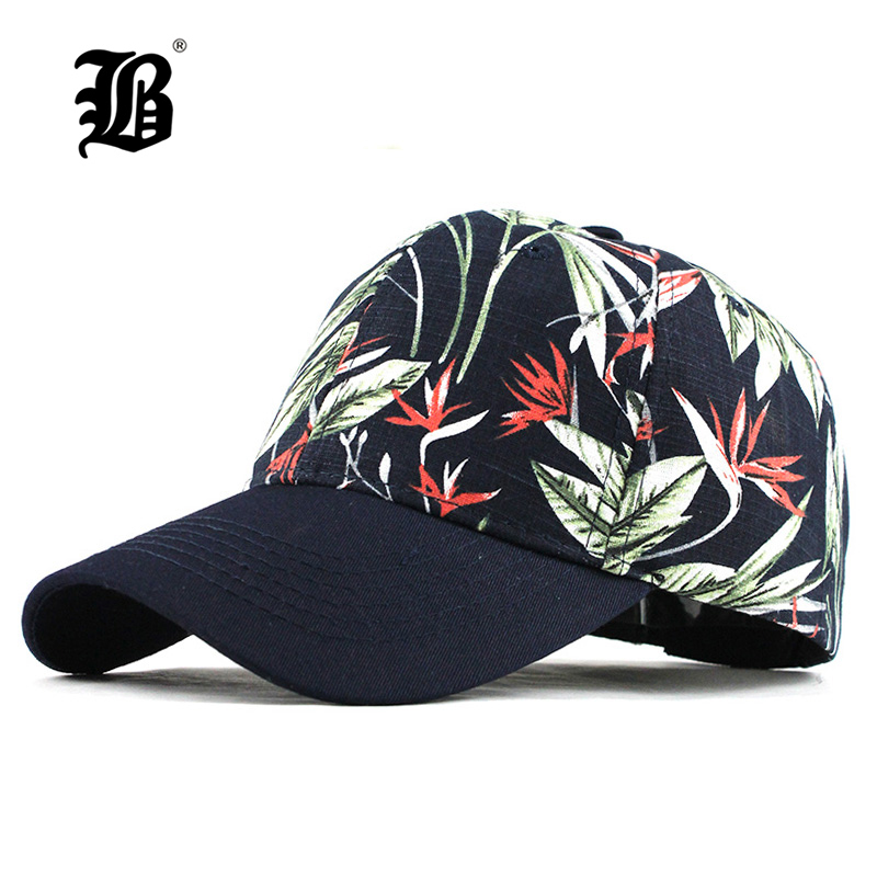 [FLB] Men Women Baseball Cap Snapback Printing Flowers Couple Hats Quality Cotton Summer Caps Bone Knitted Hats F352