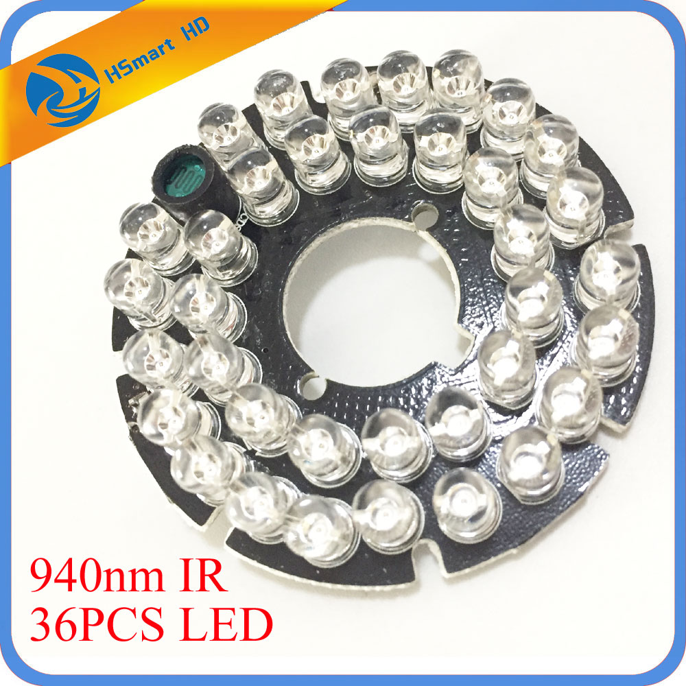 New 940nm 36 LEDs 5mm Infrared IR 60 Degrees Bulbs Board 940nm For CCTV AHD TVI 1080P Wifi 50 Camera 60 Degree 10m Night Vision 24 ir leds infrared ir board for security camera cctv dome camera 90 degrees camera led board