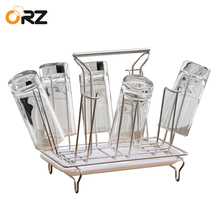 ORZ 8 Hooks Cup Mug Stand Holder Glass Tea Cup Stainless Steel Draining Drying Rack Kitchen Organizer Shelf Hanger Storage Rack