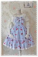 Обувь для девочек Повседневное платье с принтом вишни Лолита Принцесса с высокой талией АО Вечерние Платье Бесплатная Размеры