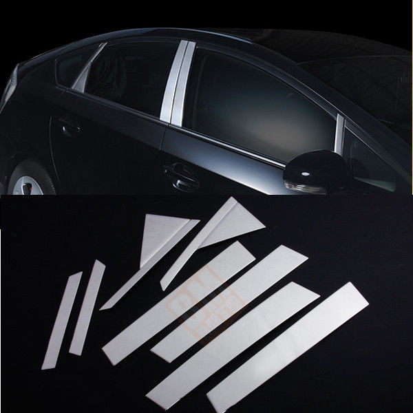 8pcs SUS304 Stainless Steel Window Pillar Post Garnish Molding Cover Trims For Toyota Prius ZVW30