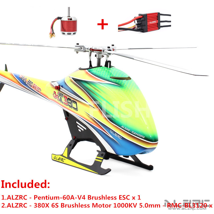 ALZRC - Devil 380 FAST TBR Combo - Silver (Included Pentium-60A-V4 ESC X1 and Motor 1000KV 5.0mm - RMC-BL3120 x 1) RC Helicopter