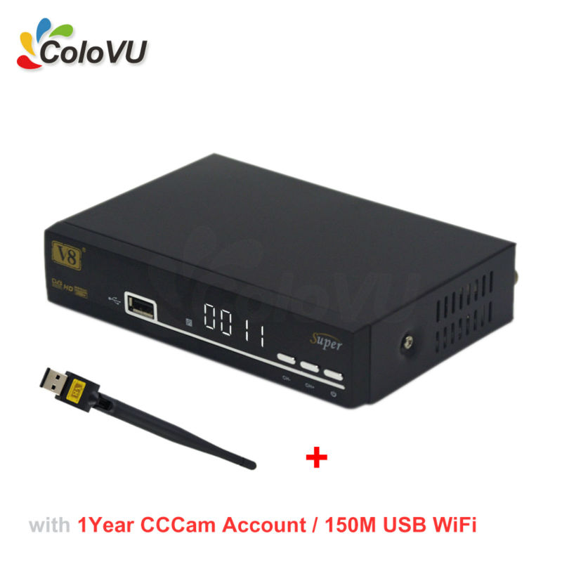Satellite TV Receiver FreeSat V8 Super + 150M USB WiFi + 1Year 4cLine CCCam for Europe support IPTV Biss PowerVU DRE DVB-S/S2 HD freesat v8 angel receptor satellite receiver android 4 4 smart tv box 1 year cccam free cline server support iptv dvb s2 t2 c