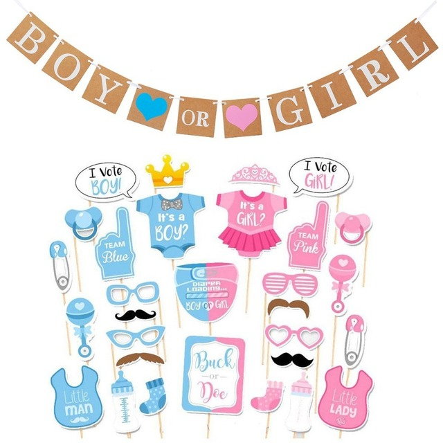 Boy Or Girl Banner And Gender Reveal Photo Booth Props On Sticks Set