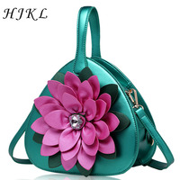 HJKL 2018 New Women's Heart shaped Ladies Totes Handmade PU Appliques Handbags Panelled Single Shoulder Bag Chinese Style Bags