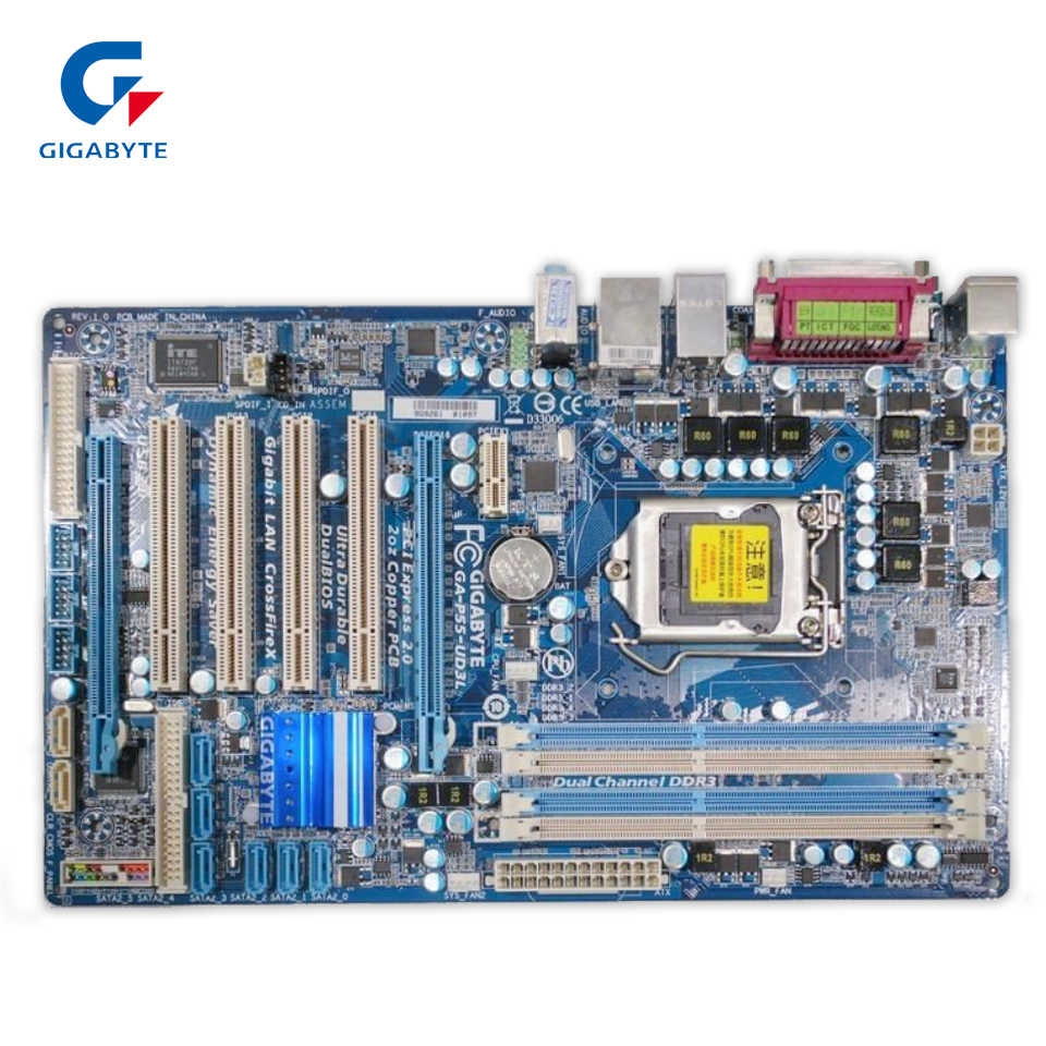 Gigabyte GA-P55-UD3L Original Used Desktop Motherboard P55-UD3L H55 LGA 1156 i5 i7 DDR3 16G ATX p55 gd55 p55 all solid state luxury board 1156 motherboard support i5 i7