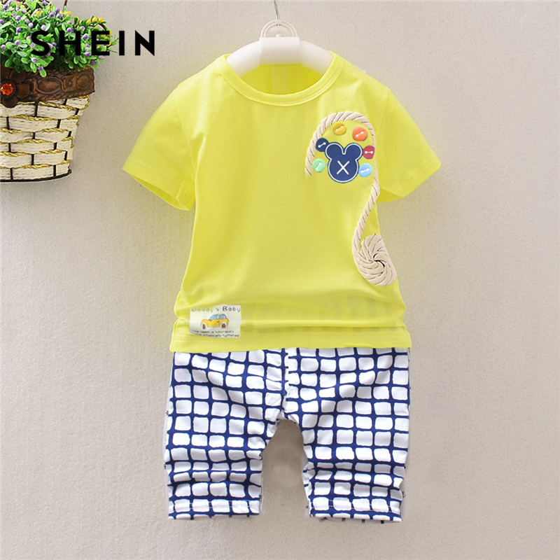 SHEIN Kiddie Yellow Letter Print Tee With Plaid Elastic Waist Pants Sets Children 2019 Summer Short Sleeve Casual Clothes Outfit rabbit print plaid night dress