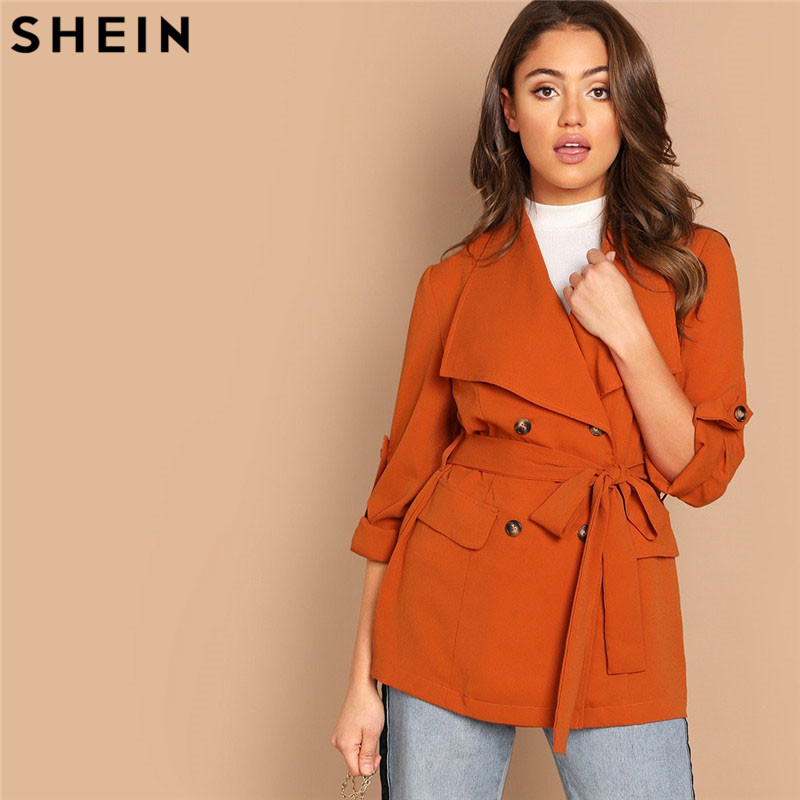 SHEIN Orange Roll Up Sleeve Double Breasted Coat With Belt Solid Waterfall Collar Casual Women Coats Office Lady Outerwear