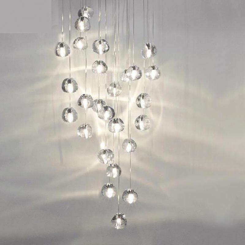 XL 1-26 pcs stairwell led Chandelier crystal heart lamp for Living Room Lustre Modern stair lighting G4 Led suspension Luminaria