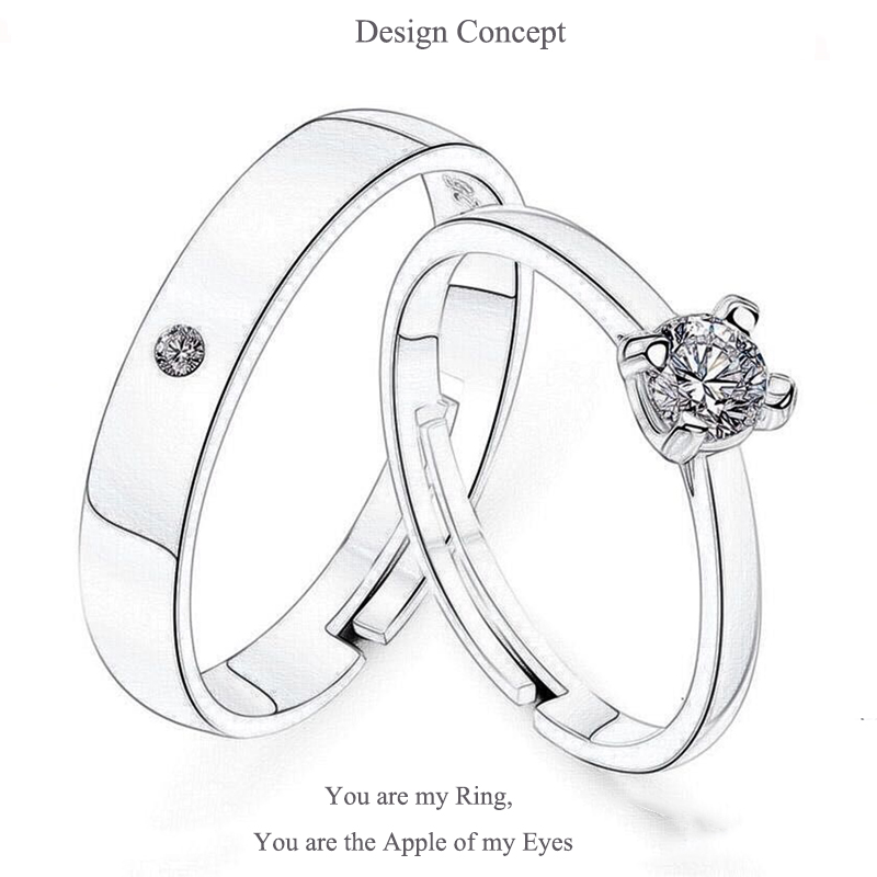 Qevila Fashion Jewelry Rings Romantic Engagement Wedding Rings Original Design Jewelry Cubic Zirconia Ring for Women Men Lover (5)