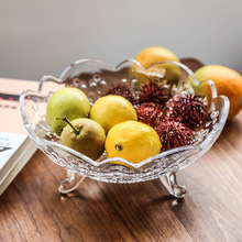 European Household High Foot Glass Fruit Pan Creative Collage Modern Candy Living Room Large Plate