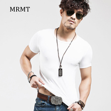 2019 Brand New Men's T Shirt Solid Color V Collar Short Sleeved T-shirt For Man White Tights Tshirts Fit Body Top Tees