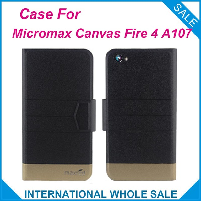 5 Colors Hot! Micromax A107 Case New Fashion Business Magnetic clasp Ultrathin Leather Case For Micromax Canvas Fire 4 A107