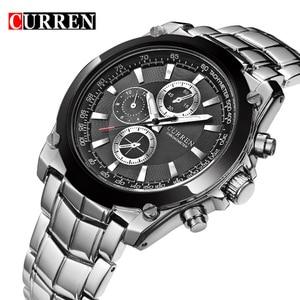 Image 1 - CURREN luksusowy zegarek męski biznes męski zegarek kwarcowy wojskowy wodoodporny zegarek Sport Relogio Masculino reloj hombre