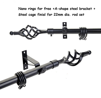 High quality good loading capacity 22mm(7/8inch) diameter Single curtain rod set+paint long steel cage finial+metal brackets
