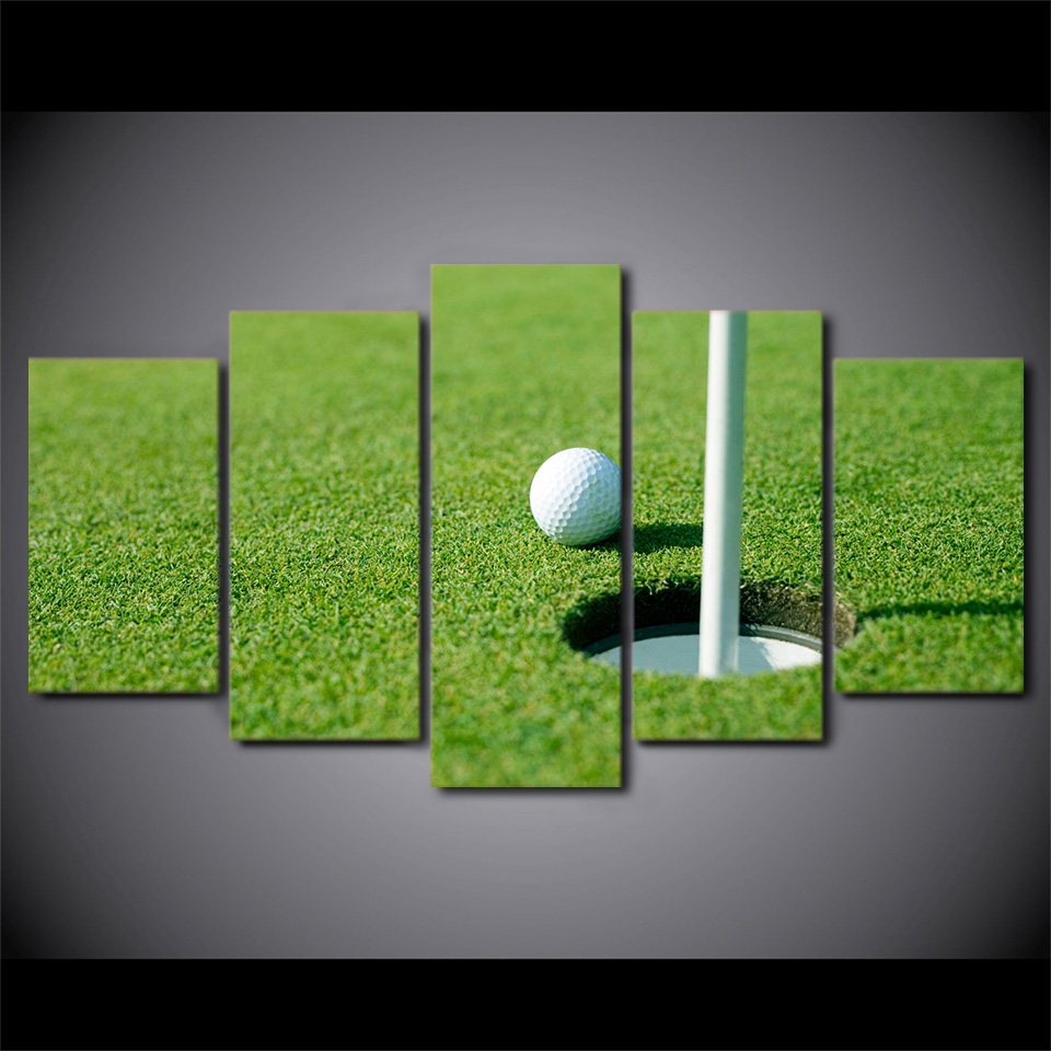 HD Gedruckt 5 Stück leinwand Grün Golfplatz Gerahmte gemälde Golf ...