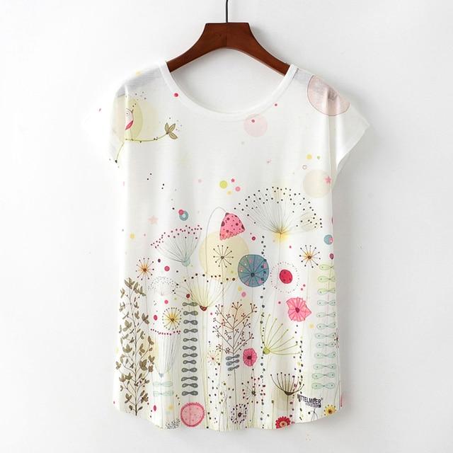 Hot Sale Women Short Sleeve Round Neck T Shirt The Dandelion Flowers and  Birds Print Women s T-shirt Lovely Summer Clothing 2d16a5d0da