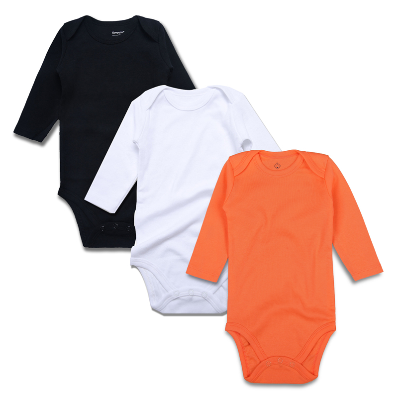 4.solid baby bodysuits BK-WH-OR