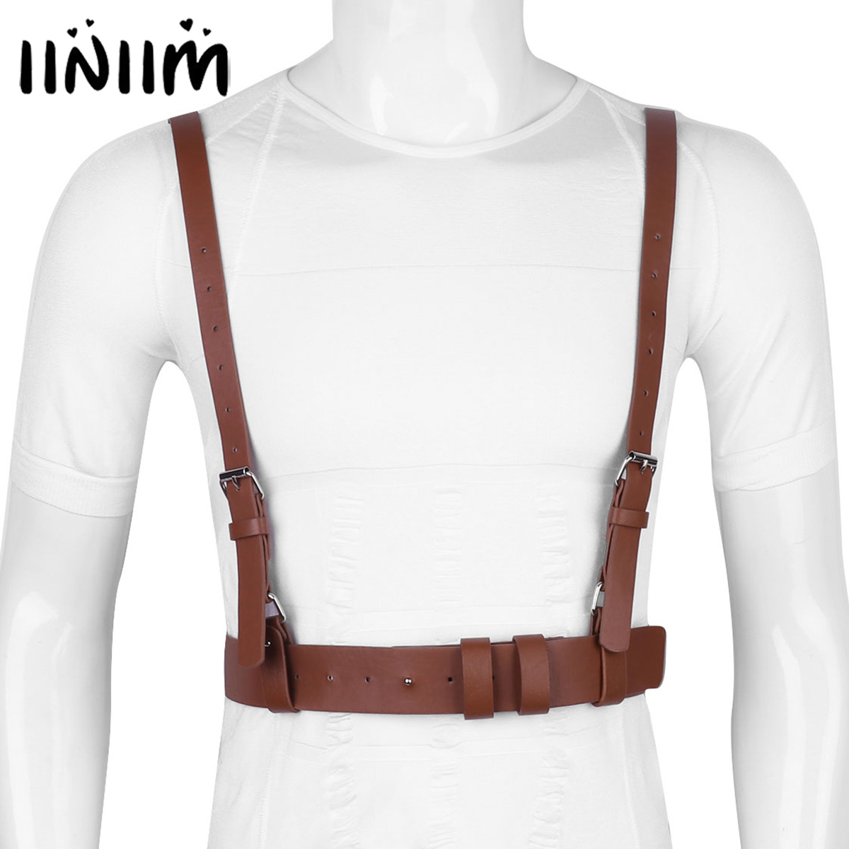 Adult Punk PU Leather Clubwear Party Body Bondage Adjustable Y/H-shape Body Waist Harness Belt Roleplay Costume Clubwear