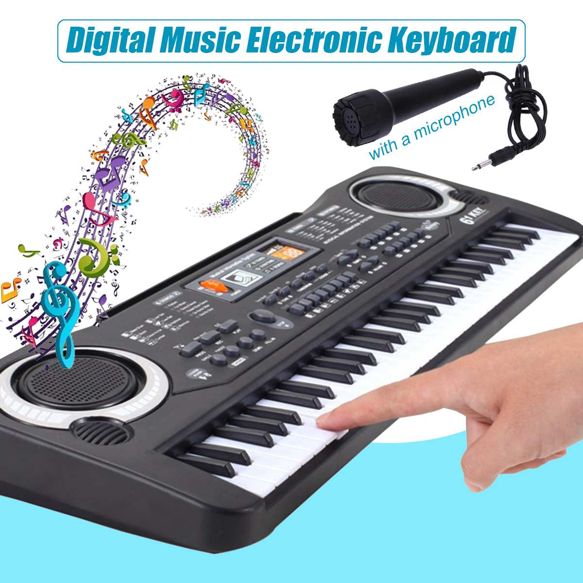 61-Key USB/US/EU Plug Electric Digital Key Board Piano With Keyboard & Microphone Musical Instruments Kids Toy Gift Black