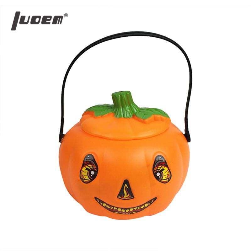 Halloween Pumpkin Bucket Gift Candy Holder with Light Party Supplies Decoration Favors for Children Toddlers Kids
