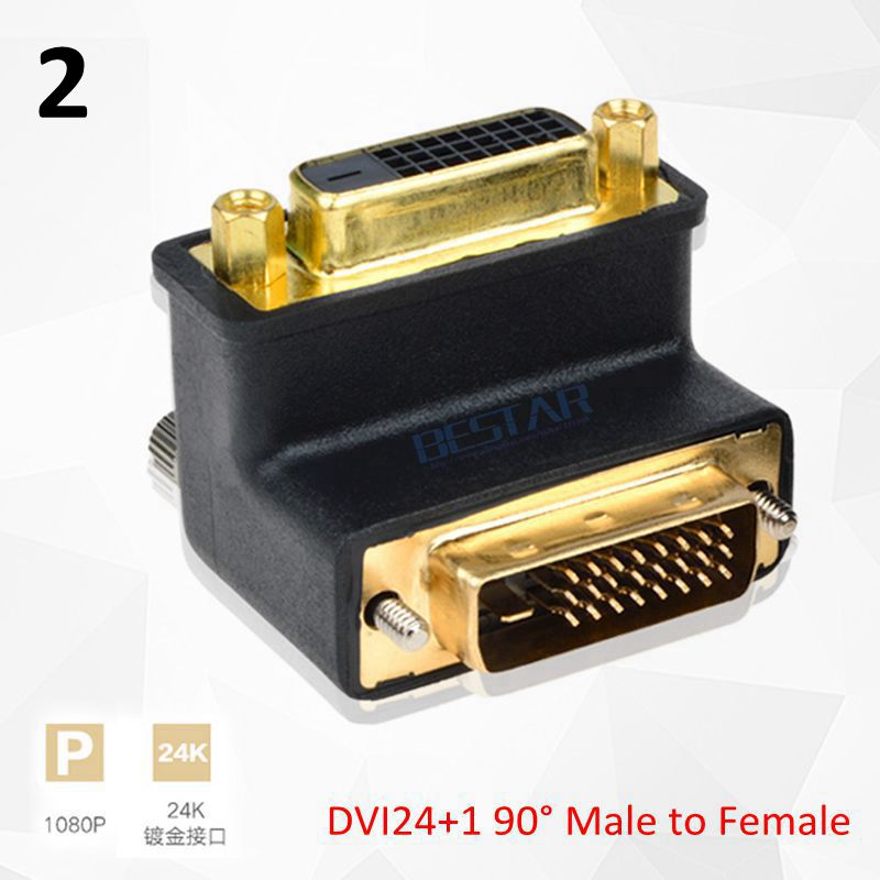 DVI 24+5 24+1 Elbow Connector, 90 270 Degree Right Angle DVI To DVI Male To Male Female To Female Video Extension Adapter