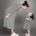 Cotton Striped Mother Daughter Dress Casual Mommy And Me Clothes women kids pajamas children clothing Family Fitted