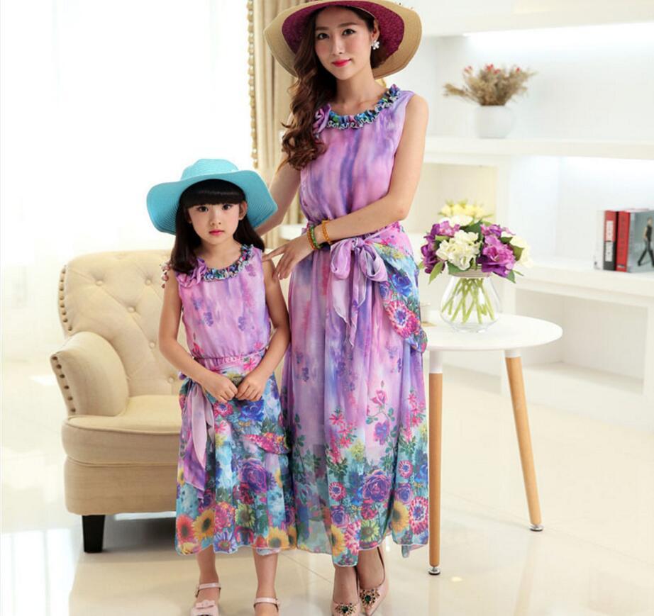 b69761b7b Novos vestidos filha da mãe de família roupas combinando mommy and me  roupas sem mangas floral vestido de chiffon mulheres moda HB2172