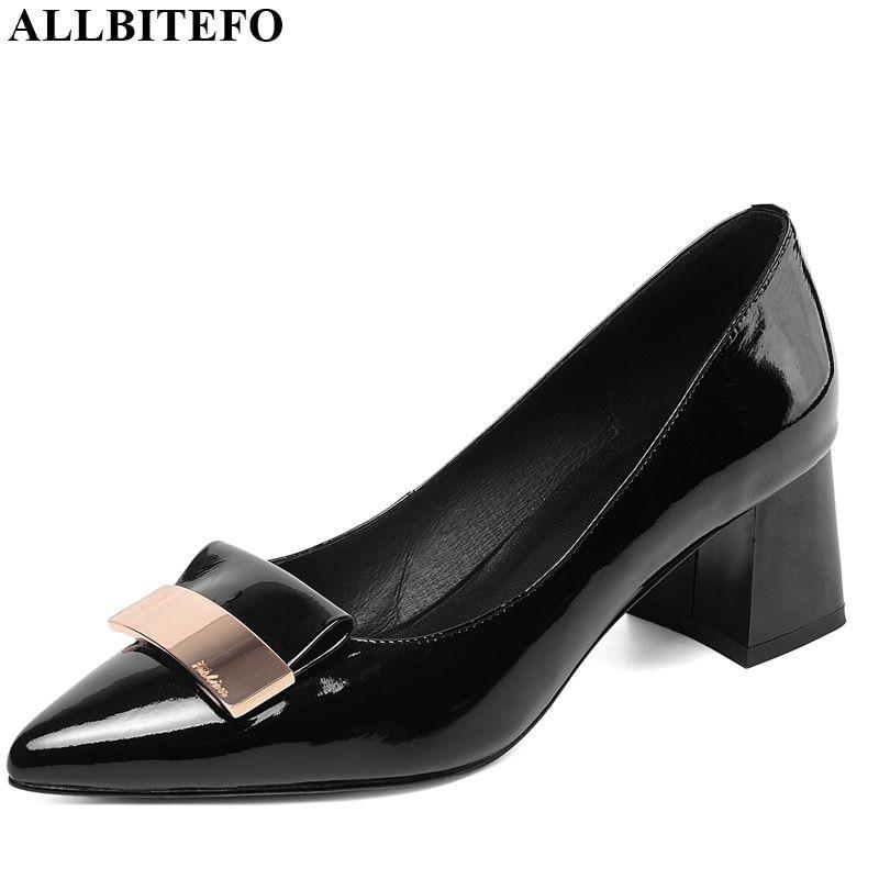ALLBITEFO High Quality Genuine Leather Women Heels Comfortable Metal Decoration Fashion High Heel Shoes Spring Autumn High Heels