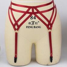 Ремень-подвязка пояс красный Эластичный готический белье клетка Пояс для чулок бандаж жгут сексуальный Свадебный подвязка Фетиш ноги ремень для чулок